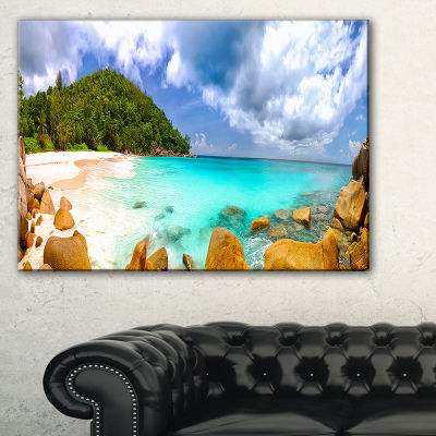 Designart Seychelles Beach Panorama Seascape Photography Canvas Art Print - 3 Panels