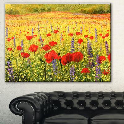 Designart Sea Of Blossom Landscape Canvas Art Print - 3 Panels
