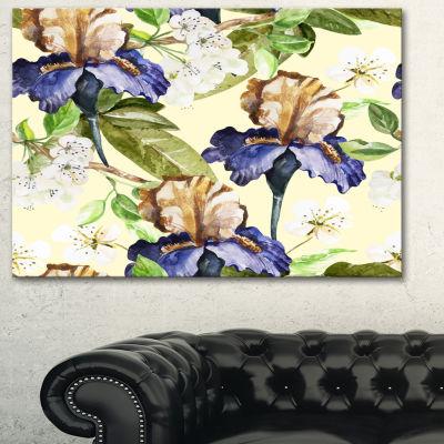 Design Art Seamless Flowers Vector Art Floral ArtCanvas Print - 3 Panels