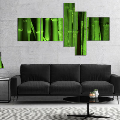 Designart Green Bamboo Forest Multipanel Floral Canvas Art Print - 4 Panels