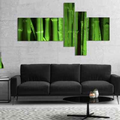 Designart Green Bamboo Forest Multipanel Floral Canvas Art Print - 5 Panels