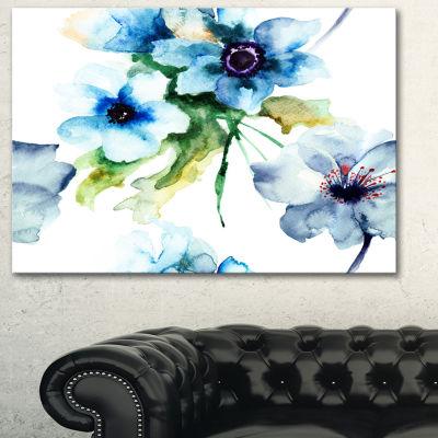 Designart Seamless Summer Blue Flowers Floral ArtCanvas Print - 3 Panels