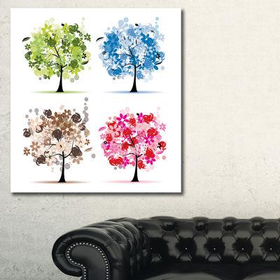 Designart Set Of Floral Trees Floral Art Canvas Print - 3 Panels