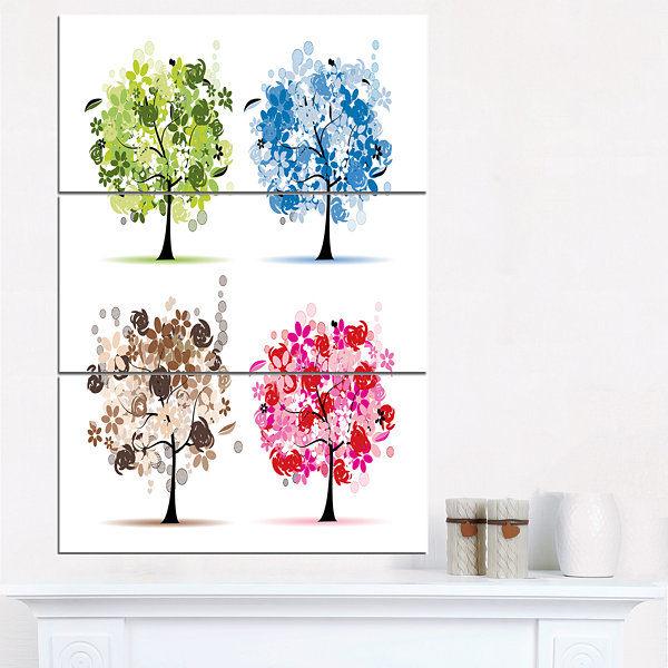 Design Art Set Of Floral Trees Floral Art Canvas Print - 3 Panels