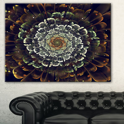 Designart Silver Metallic Fabric Flower AbstractPrint On Canvas - 3 Panels