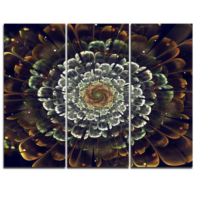 Designart Silver Metallic Fabric Flower Abstract Print On Canvas - 3 Panels