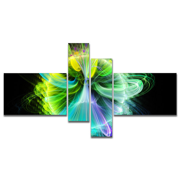 Designart Green Fractal Vortices Of Energy Multipanel Floral Canvas Art Print - 4 Panels