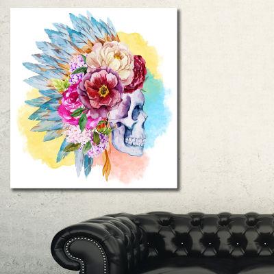 Design Art Skull And Flowers Floral Art Canvas Print