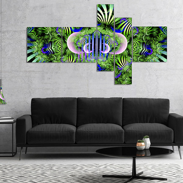 Designart Green Magical Fairy Pattern MultipanelFloral Canvas Art Print - 5 Panels
