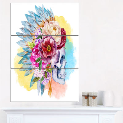Designart Skull And Flowers Floral Art Canvas Print - 3 Panels