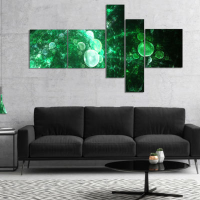 Designart Green Spherical Water Droplets Multipanel Floral Canvas Art Print - 5 Panels