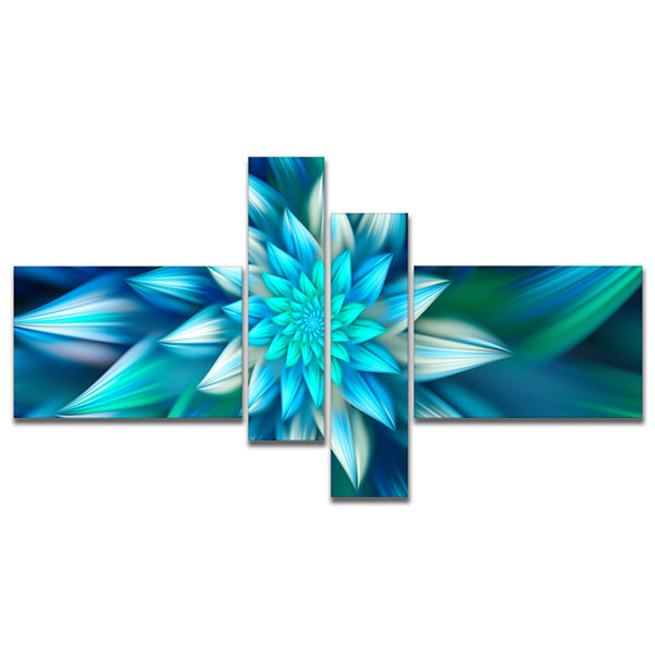 Designart Huge Blue Fractal Flower Multipanel Floral Canvas Art Print - 4 Panels