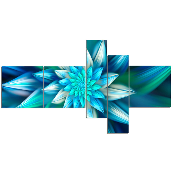 Design Art Huge Blue Fractal Flower Multipanel Floral Canvas Art Print - 5 Panels