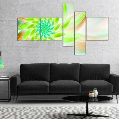 Designart Huge Bright Green Fractal Flower Multipanel Floral Canvas Art Print - 5 Panels