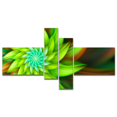 Designart Huge Clear Green Fractal Flower Multipanel Floral Canvas Art Print - 4 Panels