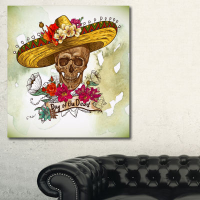 Designart Skull In Sombrero With Flowers Floral Art Canvas Print - 3 Panels