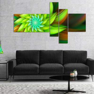 Designart Huge Clear Green Fractal Flower Multipanel Floral Canvas Art Print - 5 Panels