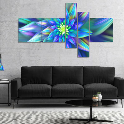 Designart Huge Light Blue Fractal Flower Multipanel Floral Canvas Art Print - 4 Panels