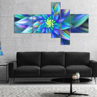 Designart Huge Light Blue Fractal Flower Multipanel Floral Canvas Art Print - 5 Panels