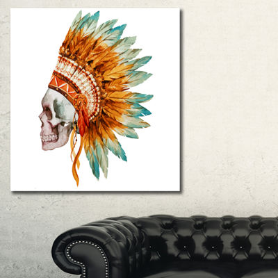 Designart Skull With Feathers Abstract Canvas ArtPrint - 3 Panels