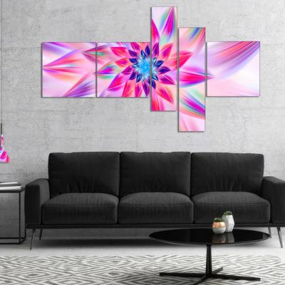 Designart Huge Pink Blue Fractal Flower MultipanelFloral Canvas Art Print - 5 Panels