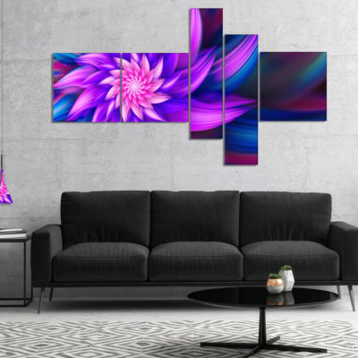 Designart Huge Purple Fractal Flower Multipanel Floral Canvas Art Print - 4 Panels