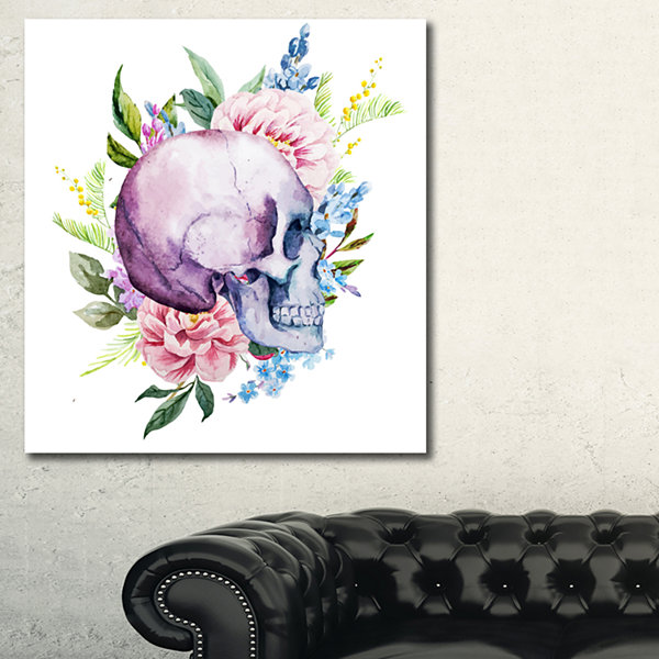 Designart Skull With Flower Borders Floral Art Canvas Print
