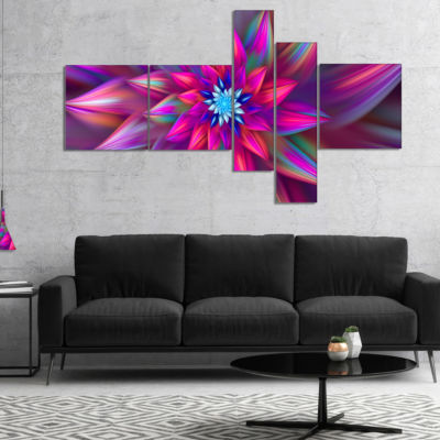 Designart Huge Purple Pink Fractal Flower Multipanel Floral Canvas Art Print - 4 Panels