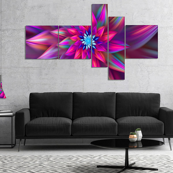 Design Art Huge Purple Pink Fractal Flower Multipanel Floral Canvas Art Print - 4 Panels