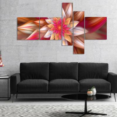 Designart Huge Red Fractal Flower Multipanel Floral Canvas Art Print - 4 Panels