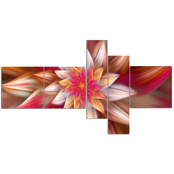 Designart Huge Red Fractal Flower Multipanel Floral Canvas Art Print - 5 Panels