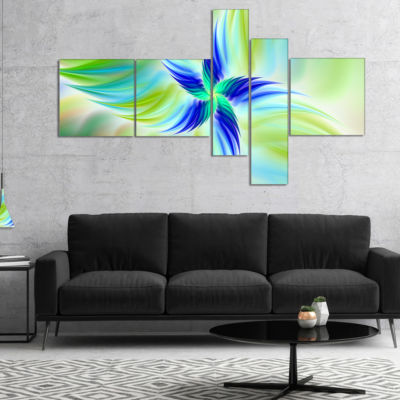 Designart Huge Rotating Green Flower Multipanel Floral Canvas Art Print - 4 Panels
