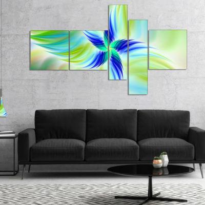 Designart Huge Rotating Green Flower Multipanel Floral Canvas Art Print - 5 Panels