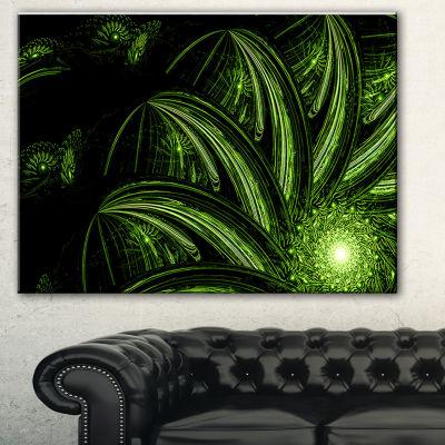 Designart Strange Green Flower Floral Art CanvasPrint - 3 Panels