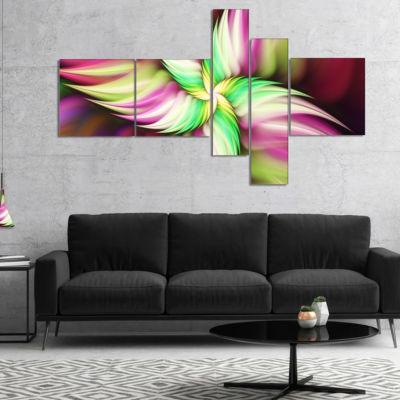 Designart Huge Rotating Pink Flower Multipanel Floral Canvas Art Print - 5 Panels