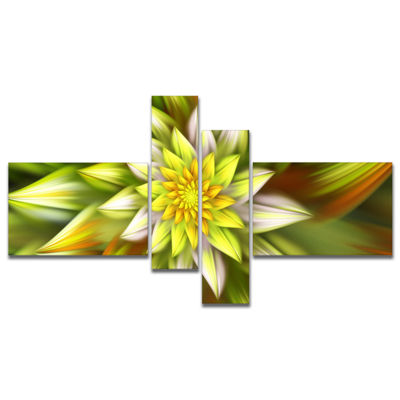 Designart Huge Yellow Fractal Flower Multipanel Floral Canvas Art Print - 4 Panels