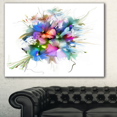Designart Summer Colorful Flowers Watercolor Painting Canvas Print - 3 Panels