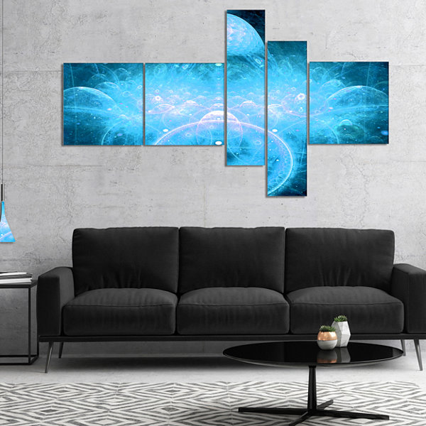 Designart Infinite Light Blue Universe MultipanelFloral Canvas Art Print - 4 Panels
