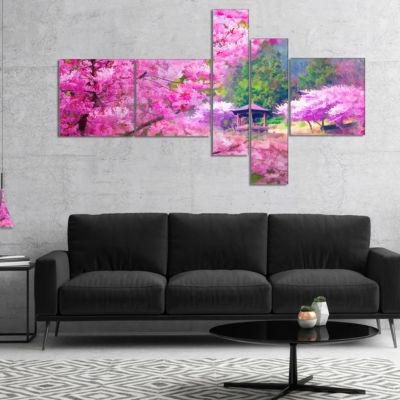 Designart Japanese Cherry Flowers Multipanel Floral Art Canvas Print - 4 Panels