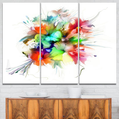 Designart Summer Flowers In Different Colors Floral Art Canvas Print - 3 Panels