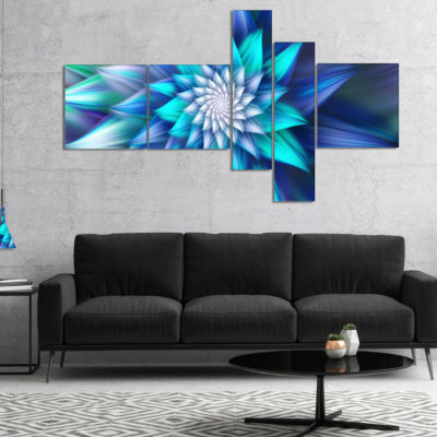 Designart Large Blue Alien Fractal Flower Multipanel Floral Canvas Art Print - 5 Panels