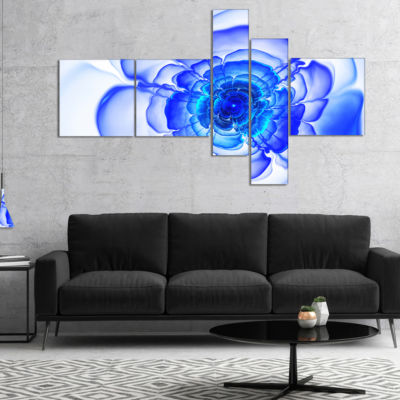 Designart Large Blue Fractal Flower Petals Multipanel Floral Canvas Art Print - 4 Panels