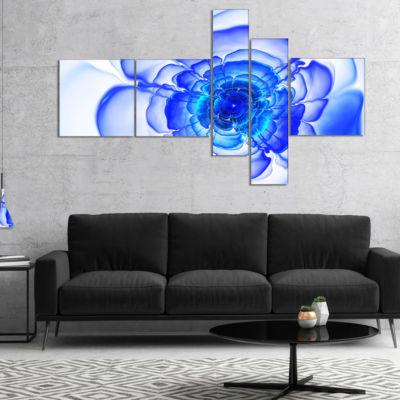 Designart Large Blue Fractal Flower Petals Multipanel Floral Canvas Art Print - 5 Panels