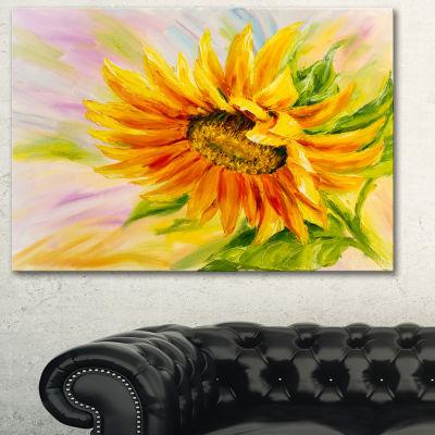 Designart Sunflower Oil Painting Floral Art CanvasPrint - 3 Panels