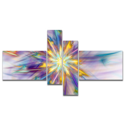 Designart Large Exotic Colorful Flower MultipanelFloral Canvas Art Print - 4 Panels
