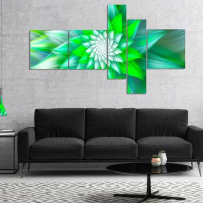 Designart Large Green Alien Fractal Flower Multipanel Floral Canvas Art Print - 4 Panels