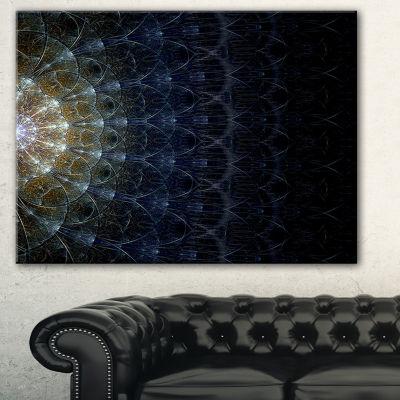 Designart Symmetrical Blue Silver Fractal FlowerAbstract Print On Canvas - 3 Panels