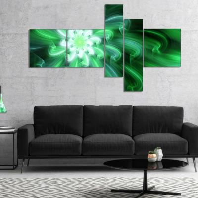 Designart Large Green Exotic Flower Petals Multipanel Floral Canvas Art Print - 5 Panels