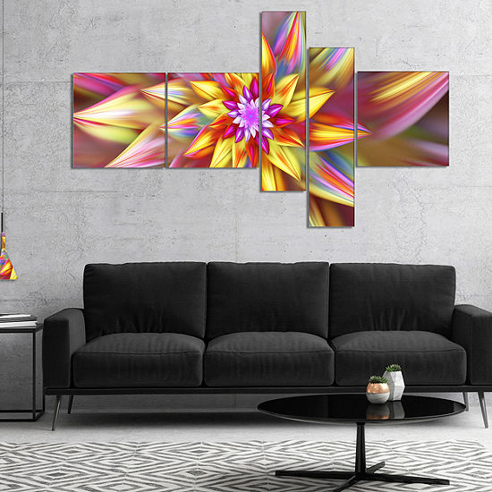 Designart Large Multi Color Alien Fractal FlowerMultipanel Floral Canvas Art Print - 4 Panels
