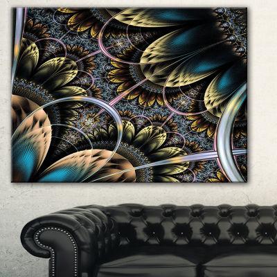 Designart Symmetrical Dark Orange Fractal FlowerAbstract Print On Canvas - 3 Panels